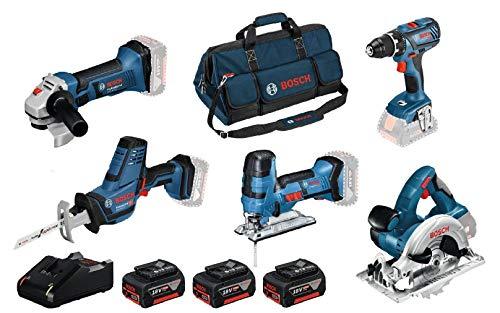 Bosch Professional 18V System Akku Bohrschrauber GSR 18V-28+Stichsäge GST 18V-LI S+Winkelschleifer GWS 18-125V-LI+Kreissäge GKS 18V-LI+Säbelsäge GSA 18V-LI C (inkl. 3x4.0Ah Akku, Ladegerät, in Tasche)
