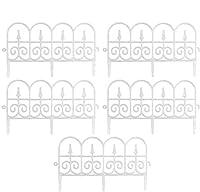 装飾的なガーデンフェンスボーダー、パティオヤードガーデンデコレーション用の耐久性のあるリサイクルプラスチックビクトリアンスタイルランドスケープエッジガーデンフェンス(ブラック、5パック、58 * 34cm)