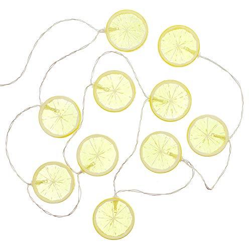 TFH LED Lichterkette 10er Zitrone Gartenlichterkette Partylampions Sommerlichterkette Gartenbeleuchtung Partydeko