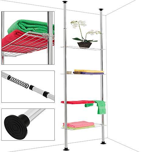 Deuba Estantería telescópica con 4 estantes de acero cromado altura ajustable 180-270 cm pies antideslizante cocina bañ