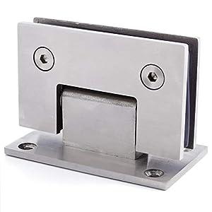 Abrazadera de puerta de ducha de acero inoxidable para montaje en pared con bisagra de cristal, color plateado