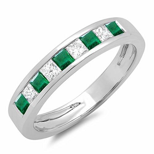 Dazzlingrock Collection 10K Princess Cut Emerald & White Diamond Ladies Wedding Band Stackable Ring, White Gold, Size 8
