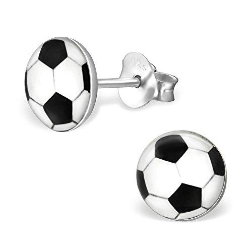 Small Black & White Football Earrings - Sterling Silver Gift