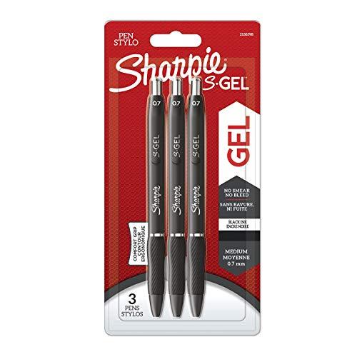 Sharpie S-Gel Gelstifte | mittlere Spitze (0,7 mm) | Gelschreiber mit schwarzer Tinte | 3 Stück