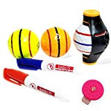 360 Degree Rotation Easy Ball Liner Drawing Alignment Putting Tool Kit - Golf Accessories - 360 long Triple 3 Line Golf Ball Marker With 2ea Golf Ball Marker Pen and 1ea Golf Ball Marker Hat Clip