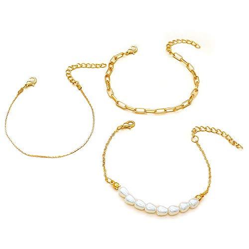 XXX Pulsera simple de cadena de perlas 3 piezas pulsera conjunto
