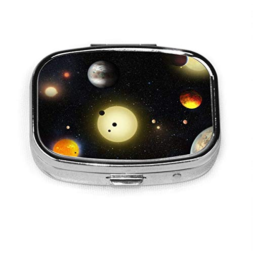 Space Planet Stars Fashion Square Pill Box Vitamin Medicine Tablet Holder Wallet Organizer Case