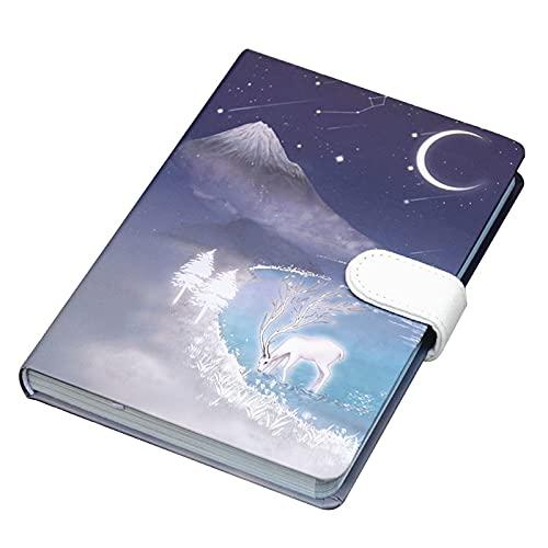 unknows Cuaderno de tapa dura retro A5 planificador de oficina para tomar notas, cierre magnético, diario de escritura, clásico de tapa dura, cuaderno A5 con marcador forrado para mujeres