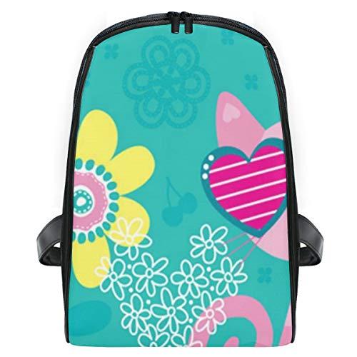 ELIENONO Katze blüht Hintergrund-Einladungs-Karten-Vektor,Laptop Rucksack für Männer Schulrucksack Multifunktionsrucksack Mini Tagesrucksack für Schule Wandern Reisen Camping