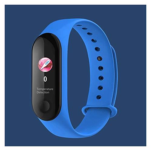 YNLRY Pulsera inteligente de medición de temperatura corporal Smartband Multi-Sport Fitness Pulsera para Xiaomi Huawei iPhone (Color: Azul)