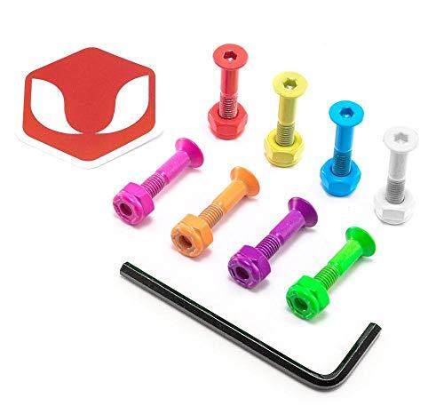 Venom 2,5 cm – Inbusschlüssel Directional Skateboard-Schrauben / Hardware – Rasta/Silber/Schwarz/mehrfarbig, Party-Paket