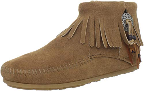 Minnetonka Concho/Feather Side Zip Boot 527T Damen Fashion Halbstiefel & Stiefeletten, Beige (Taupe 7T), 36