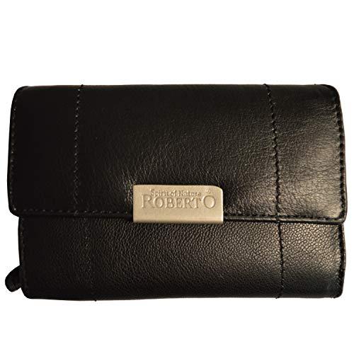 flevado Damen Leder Geldbörse Damen Portemonnaie mit viel Stauraum (Schwarz)