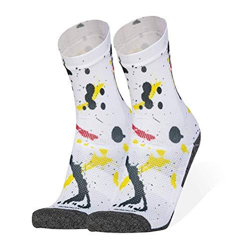ROKSOX Premium Sport Socken Unisex Bunt | atmungsaktive Laufsocken | multifunktionale Sportsocken | schnell trocknende Tennissocke | perfekte Passform für Damen und Herren (Schwarz, 35 - 38)