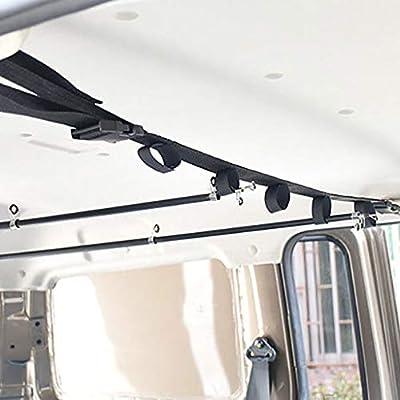 YOTAMI Vehicle Fishing Pole Holder,2 Strap Adjustable Nylon Car Fishing Rod Rack Holder Straps Roof Rack Fishing Rod Carrier for Car, SUVs and Vans