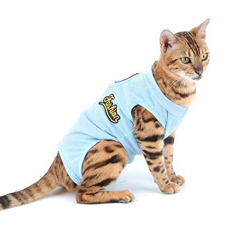 SELMAI Traje de Recuperación para Gato y Perros de Mascota Camiseta de Médico para Cirugía Conos E Alternativos para Enfermedades De La Piel Heridas Anti Lamiendo, Azul S