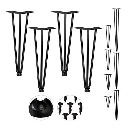 Relaxdays Hairpin Legs, 4er Set, 3 Streben, Metall, Haarnadel Tischbein für Hocker, Tisch & Schrank, 36 cm hoch, schwarz