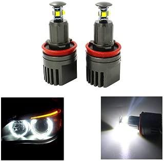GFJMC Super Bright 40W H8 CREE LED Angel Eye 360-Degree Halo Bulb Light Lamp 6000K Xenon White for BMW E60 E61 E90 E92 E70 E71 E82 E89 1 3 5 Series X5 X6 Z4 (H8-40W)