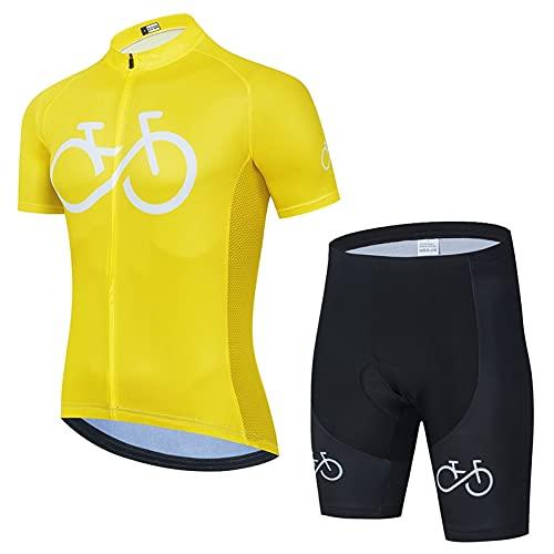 HXSCOO Jersey Cyclisme pour Hommes Ensemble de Manches Courtes à vélo avec Shorts rembourrés de Gel 3D, vêtements de vélo pour MTB Vélo de Route (Color : Jaune, Size : XXXL)