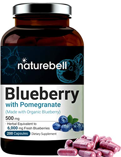 Blueberry Capsules with Pomegranate, Made with Organic Blueberry & Pomegranate, 6000mg Herbal Equivalent, 200 Capsules, Support Immune System, Rich in Vitamin C, Antioxidant, and Anthocyanins
