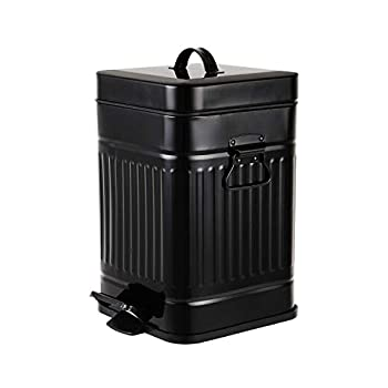 Bathroom Trash Can with Lid Small Garbage Can Black for Home Bedroom Retro Step Wastebasket with Soft Close Vintage Office Trash Can 5 Liter/ 1.3 Gallon Glossy Black