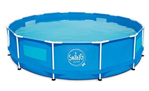 AmbientehomeFrame Zwembad nieuw met 4 kijkvensters, blauw, 305 x 305 x 76 cm, 4542 L, 26027