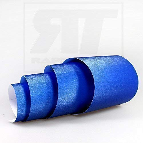 TipTopCarbon 16,45€/m² Aluminium gebürstet Autofolie Blau 0,5m x 1,52m Auto Folie BLASENFREI mit Luftkanälen 3D Flex