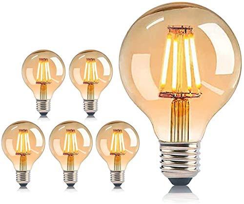 MeYuxg LED Lampadina Edison E27, Lampadine Vintage Decorativo Stile Retrò 2200K, Luce Bianca Calda 4W 220-240V, 6 Pezzi Lampadina Antica per l'illuminazione Di Atmosfera Nostalgica e Retrò