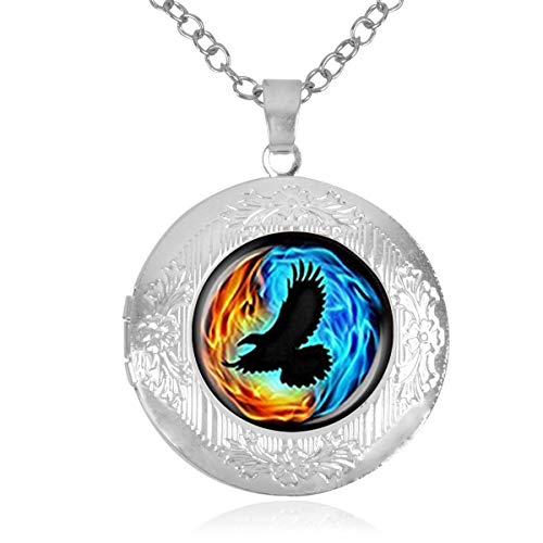 Women Girls Locket Necklace Holds Pictures Colorful Twin Flames with Raven Necklace with Adjustable Chain Pendant Enhancers