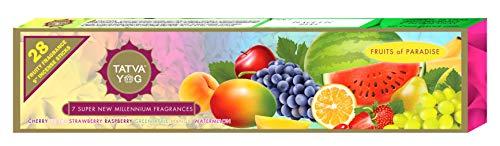 TATVA YOG Räucherstäbchen, fruchtiger Duft, 22,9 cm, Kirsche, Pfirsich, Erdbeere, Himbeere, Grüner Apfel, Mango, Wassermelone, 28 Stück