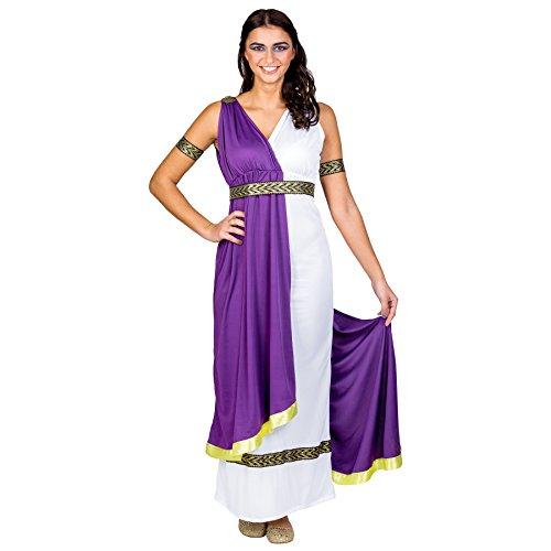 TecTake dressforfun Frauenkostüm olympische Göttin Minerva | langes Kleid mit aufgenähter Schärpe und sexy Ausschnitt | Gürtel (XXL | Nr. 300463)