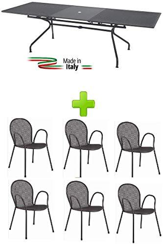 Emu Prime Athena Table d'extérieur Extensible 160 + 50 x 90 cm 3428 6 fauteuils Ronds de Couleur Gris Antique – pour Usage extérieur