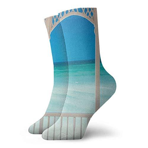 Coastal Decor Maldivas Tropic Ocean Cuban Shore Photo Slipper Calcetines para mujer, calcetines divertidos 30 cm