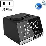 GUPENG Reloj de decoración de Escritorio Alarma K11 Bluetooth Reloj Altavoz Creativo Reloj Digital Music Pantalla Dual de Radio de la Interfaz USB, Soporte U Disco/TF Card/FM/AUX (Color : Negro)
