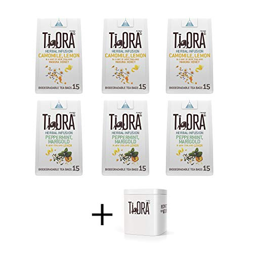 Ti Ora Herbal Tea Lovers Variety Bundle - Camomile, Lemon & NZ Manuka Honey, Peppermint, Marigold & NZ Lemon, All Natural Ingredients - 6 Packs of 15 Pyramid Tea Bags (90 Servings) + Ti Ora Tea Tin