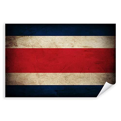 Postereck - 0344 - Vintage Flagge, Fahne Costa Rica San Jose - Unterricht Klassenzimmer Schule Wandposter Fotoposter Bilder Wandbild Wandbilder - Poster mit Rahmen - 29,0 cm x 19,0 cm