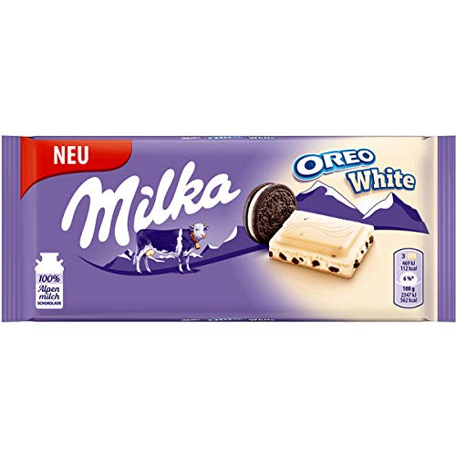 Milka & OREO WHITE Schokoladentafel 11 x 100g, Zarte weisse Milka Alpenmilch Schokolade mit knusprigen original OREO-Keksstückchen