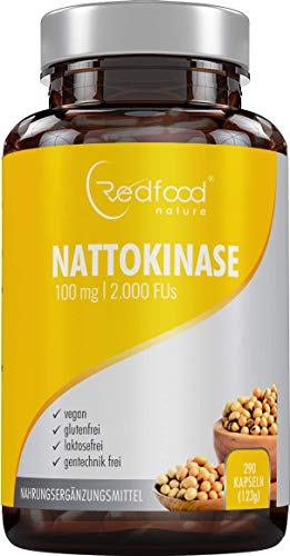 Nattokinase von Redfood® 100mg 2000 FU 290 Kapseln Vegan hohe Bioverfügbarkeit ohne Microcrystalline Cellulose ohne K1 K2 mit Analyse Zertifikat