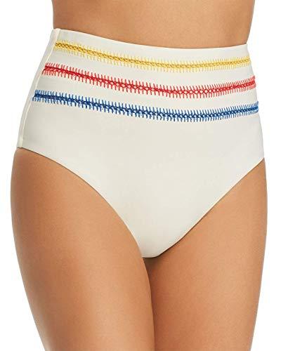 Dolce Vita Ivory Buttercream Kokomo Embroidered High Waist Bikini Bottoms M