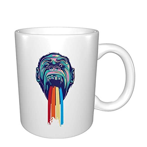 Una divertente tazza da caffè tazza da tè in ceramica degna del tuo preferito Big vomiting monkey 11 oz bianco per l'ufficio e le vacanze in famiglia