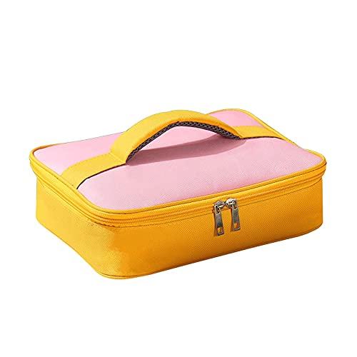 SUNDAY HOME Bolsa de Asas de Almuerzo Reutilizable para niños, Bolso de Almuerzo Enfriador Aislado con Papel de Aluminio, Bolsa de Almuerzo portátil para la Escuela, Camping (Color : Pink)
