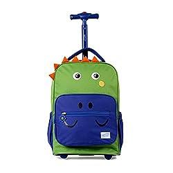 1. TWISE Kids Side-kick Dinosaur Rolling Backpack