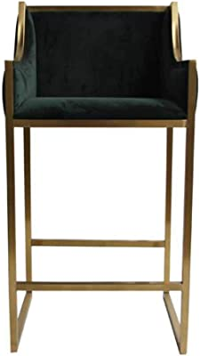 XUERUI Barstool High Footstool Metal Coffee Bar Tea Shop Nordic Modern Simplicity - Gold Strong Stability