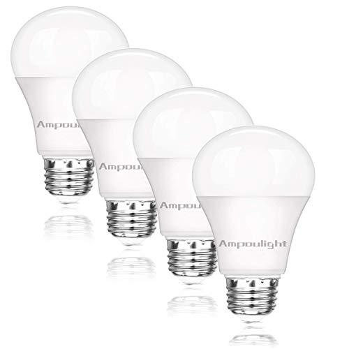Ampoulight 4Pack LED Light Bulb 60W Equivalent, A19 Daylight 2700K Non-Dimmable E26 Medium Screw Base Light Bulb…