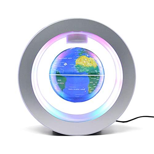 Bisofice Globo flotante con luz LED cambiante multicolor Mapa del mundo giratorio de levitación magnética de 4 pulgadas con base de luz multicolor Lámpara de globo antigravedad creativa