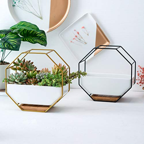 VOSAREA Wandvase Geometrischer Hängender Blumentopf Keramik Vase Deko Übertopf für Sukkulenten Kaktus Töpfe Luftpflanzen Wanddeko(Schwarz)