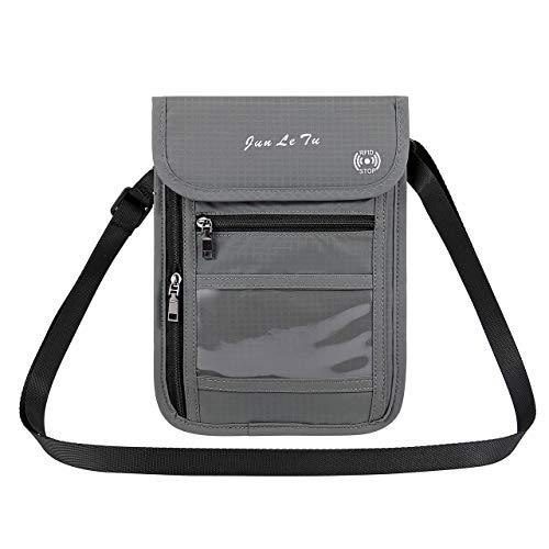 ACBungji Brustbeutel RFID Blocker Schutzhülle Reise Brusttasche wasserdicht umhängetasche Brieftasche Organizer für Kreditkarten Reise-Pass Handy (Grau)