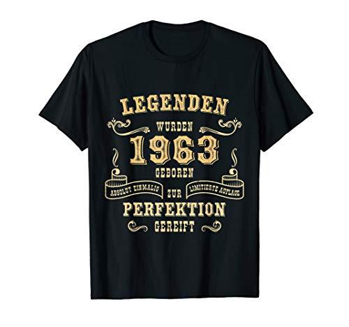 57. Geburtstag Mann Frau Legenden 1963 Geboren Herren Damen T-Shirt