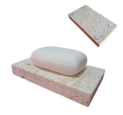 Jabonera de Piedra Natural - Alto Nivel de absorción - Cuida y Seca tu jabón con Esta Piedra Especial Que Absorbe el Agua de tu Pastilla evitando Dejar restos en tu encimera - 14x8cm