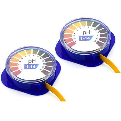 Amacoam PH Teststreifen PH Wert Teststreifen Lackmuspapier Indikatorpapier PH 1-14 PH Indikator Lackmus Test Papier Urin Teststreifen 5m Lang für Urin Speichel Trinkwasser Labor, 2 Rollen